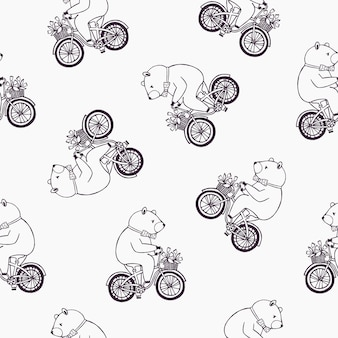 Modello senza cuciture adorabile con l'orso divertente del fumetto che indossa farfallino punteggiato e andare in bicicletta con cesto pieno di fiori di tulipano.