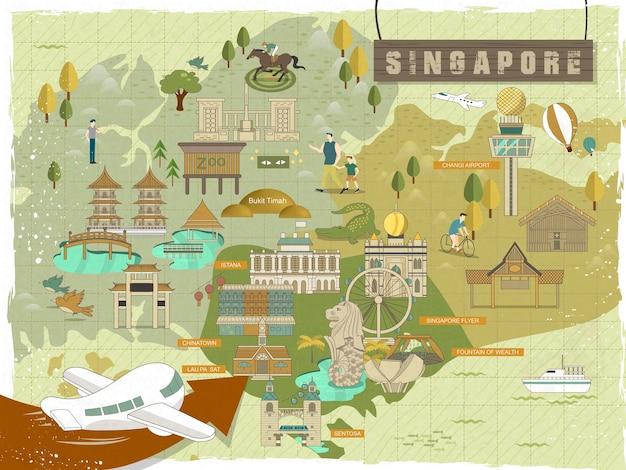 La bella singapore deve vedere la mappa di viaggio delle attrazioni in un design piatto