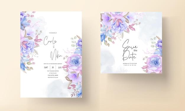 Adorabile biglietto d'invito per matrimonio floreale rosa e blu soft