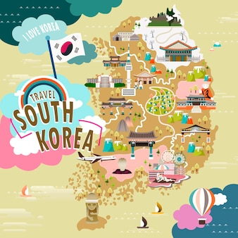 Bella mappa di viaggio della corea del sud in stile piatto