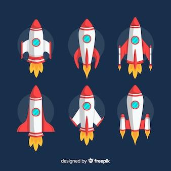 Bella collezione di astronavi con design piatto Vettore Premium