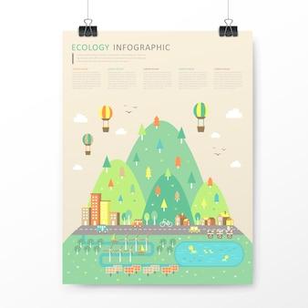 Modello di infografica paesaggio incantevole città in stile design piatto