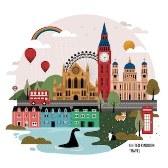 Bel design di poster di viaggio del regno unito con attrazioni