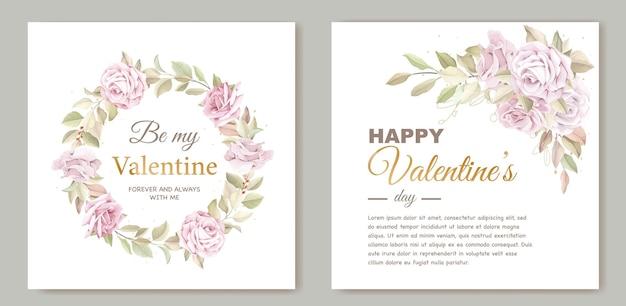 Modello di carta adorabile di san valentino con ghirlanda floreale