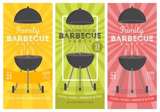 Insieme del modello di disegno di invito a una festa barbecue adorabile di vettore.