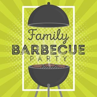 Modello di disegno di invito a una festa barbecue vettoriale adorabile. design di poster alla moda per grigliate barbecue con classica griglia a carbone, forchetta, pala da cucina e testo di esempio
