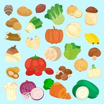 Belle collezioni di verdure ambientate in stile cartone animato