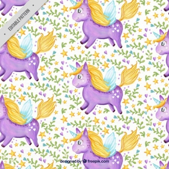 Bella acquerello unicorno viola con foglie e modello di stelle