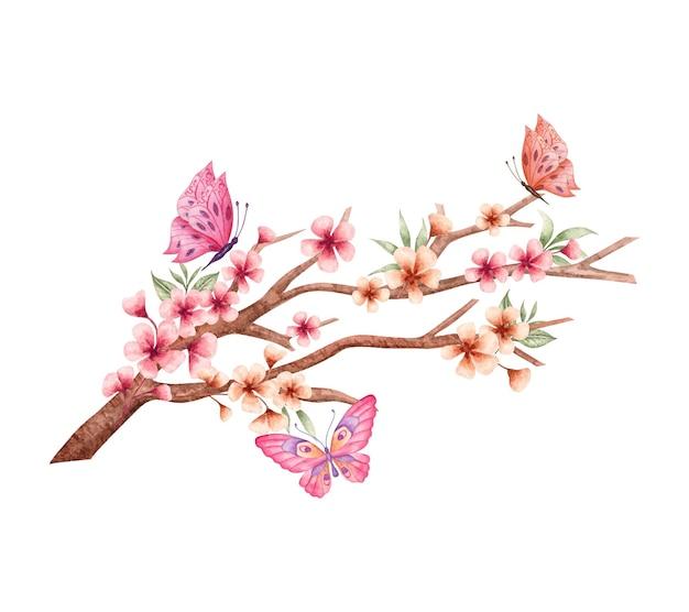 Adorabile fiore primaverile ad acquerello e decorazione di rami di foglie