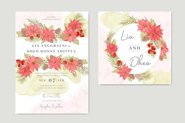 Modello di carta di invito matrimonio incantevole con bellissimo acquerello floreale