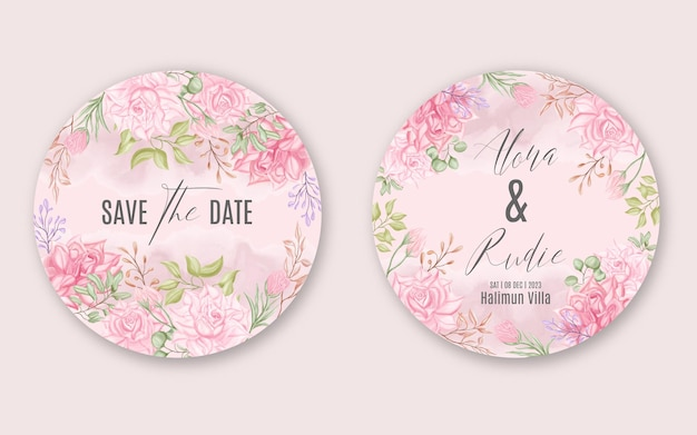 Modello di carta rotonda di invito matrimonio incantevole con bella cornice floreale dell'acquerello