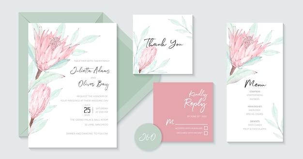 Incantevole invito a nozze con bellissimo acquerello protea