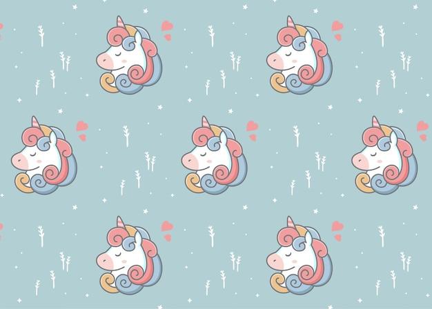 Adorabile motivo a testa di unicorno bianco
