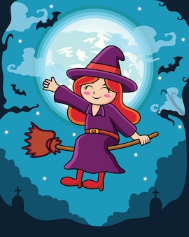 Cartone animato adorabile strega con sfondo luna e notte