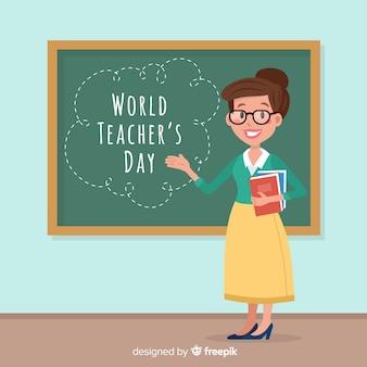 Composizione del giorno degli insegnanti adorabili del mondo con design piatto Vettore Premium