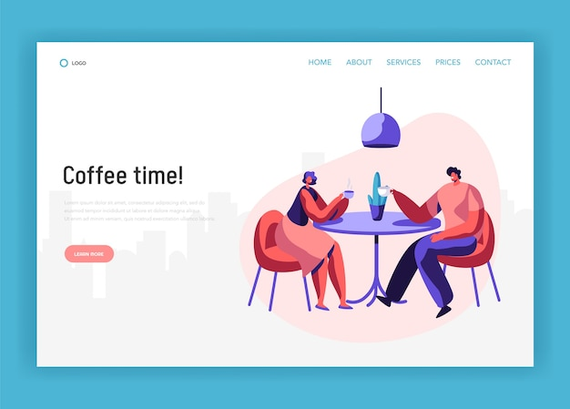 Amanti coppia o coppia amica si siedono a tavola bere caffè hanno pagina di destinazione della discussione. incontro amichevole uomo e donna sorridente al sito web o pagina web del caffè. illustrazione di vettore del fumetto piatto