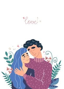 Abbraccio della donna e dell'uomo degli amanti. cartolina di san valentino con simpatici personaggi. concetto di famiglia felice. coppia in una relazione innamorata, con posto per il testo in stile moderno