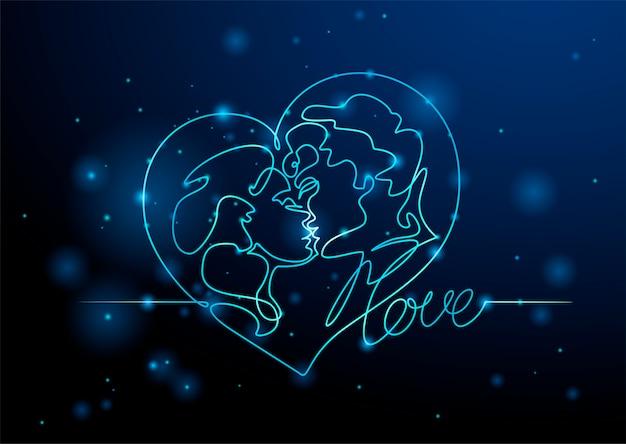 Gli amanti uomo e donna che si baciano Vettore Premium