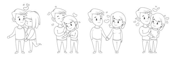 Coppia di innamorati in stile cartone animato in un abbraccio e mano nella mano isolato su bianco