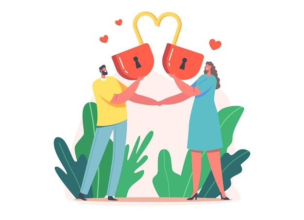 Coppie amorose che tengono un lucchetto rosso enorme del cuore. relazioni felici, amore, appuntamenti romantici. sposi che trascorrono del tempo insieme