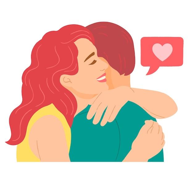 Abbraccio di coppia amorosa