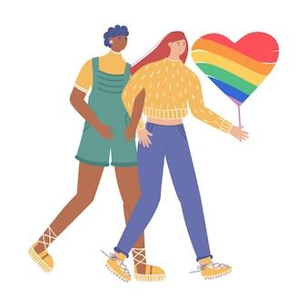 Coppia di innamorati di lesbiche. isolato su sfondo bianco.