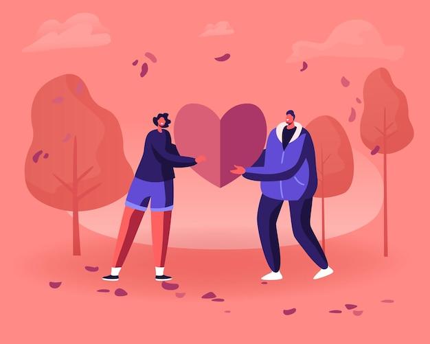 Coppia di innamorati condivide un enorme cuore rosso tra loro. relazioni umane, amore, appuntamenti romantici. cartoon illustrazione piatta