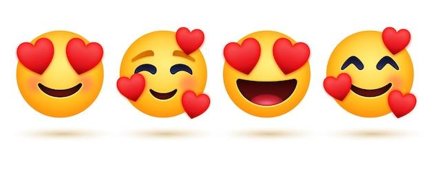 Amorevole emoji con cuori o emoticon sorridenti felici faccia con occhi a cuore