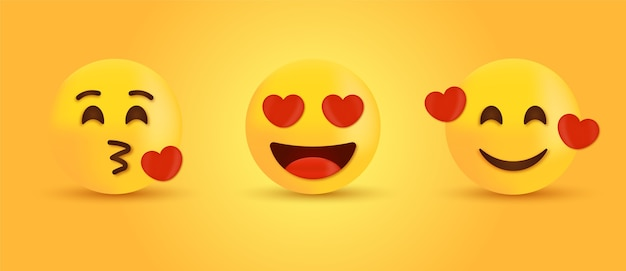 Occhi amorevoli e baciare emoji o emoticon sorridente con i cuori