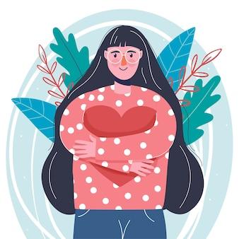 Una giovane ragazza amorevole. cuore spezzato. san valentino. stile moderno. disegno a mano.