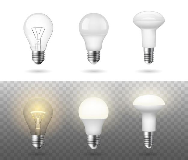 Set realistico di lampadine alogene fluorescenti a basso consumo e lampadine a incandescenza