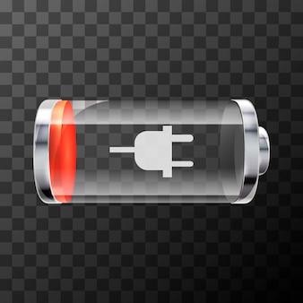 Icona della batteria lucida brillante a basso livello con simbolo di ricarica