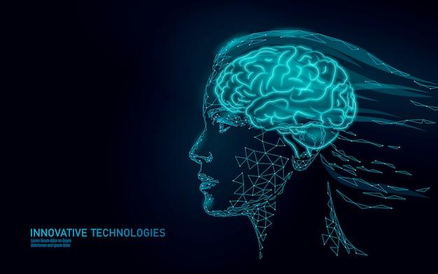 Concetto di realtà virtuale del cervello astratto basso poli. sogno di immaginazione della mente di profilo femminile della donna.