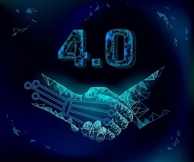 Concetto di rivoluzione industriale futura basso poli stretta di mano. unione industriale e artificiale ai 4.0 industria. gestione del settore degli accordi di tecnologia online. illustrazione di sistema poligonale 3d