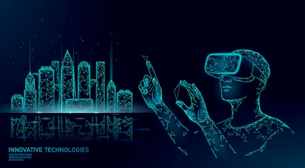 Automazione intelligente degli edifici a bassa poli città intelligente. la realtà aumentata del casco vr visualizza il concetto di creazione.