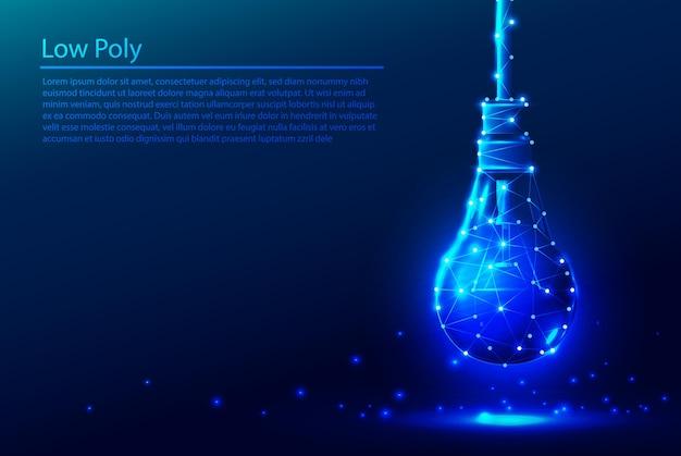 Sfondo poligonale low poly tech in blu scuro con lampadina fluorescente.
