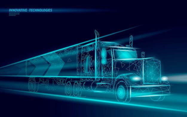 Camion astratto trasporto basso poli. logistica di consegna rapida del furgone del camion.