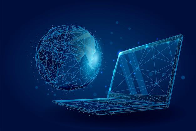Mondo globale wireframe basso poli