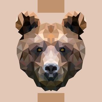 Vettore di testa di orso poligonale basso
