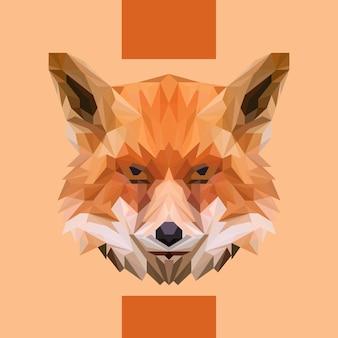 Low polygonal fox head vector