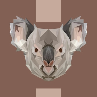 Low polygonal koala head vector