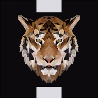 Low polygonal tiger head vector
