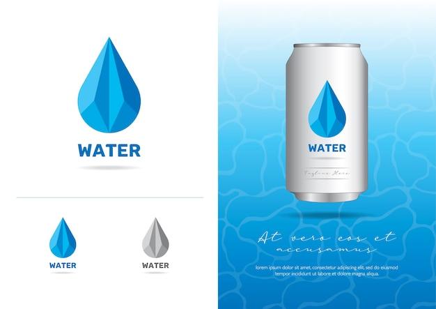 Logo poligonale basso dell'acqua nell'illustrazione di vettore di stile del triangolo