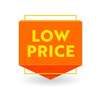Etichetta promozionale della freccia di prezzo basso, striscione o icona isolata, offerta promozionale di vendita, riduzione dei costi, etichetta di sconto. prezzo sconto sconto adesivo o emblema, design coupon su sfondo bianco. illustrazione vettoriale