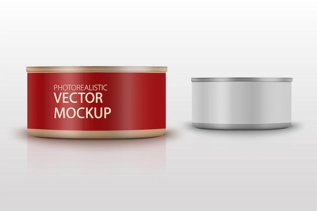 Tonno opaco a basso profilo con etichetta su sfondo bianco. modello di packaging fotorealistico con disegno campione. illustrazione 3d