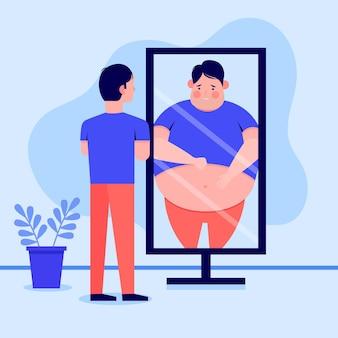 Illustrazione di bassa autostima con uomo e specchio