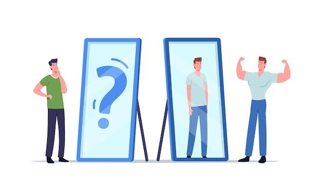 Bassa autostima, delirio e concetto di rabbia. l'uomo arrabbiato dell'atleta mostra i muscoli allo specchio vede il riflesso magro debole del suo corpo. il personaggio maschile ha bisogno di aiuto psicologico. fumetto illustrazione vettoriale