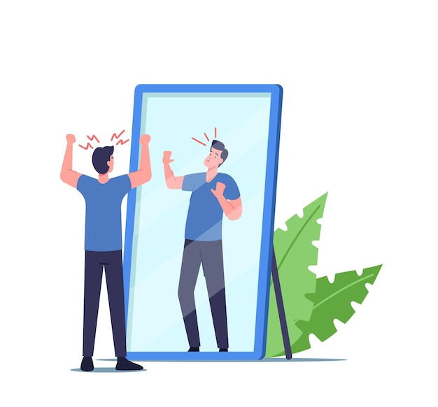 Bassa autostima, delirio e concetto di rabbia. il personaggio maschile ha bisogno di aiuto psicologico, problema di salute mentale, uomo arrabbiato e infelice che agita i pugni sulla riflessione spaventata nello specchio. fumetto illustrazione vettoriale