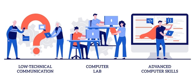 Comunicazione a basso contenuto tecnico, laboratorio informatico, concetto di competenze avanzate con persone minuscole. set di requisiti di competenze informatiche. apprendimento informatico, dispositivi per anziani, metafora di laboratorio.