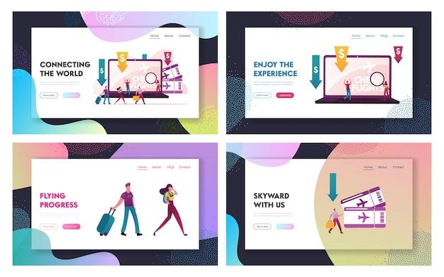Set di modelli di pagina di destinazione del budget per le vacanze lowcoster, volo economico e risparmio.